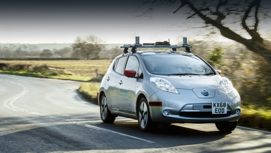 The unmanned Nissan Leaf has been tested in Britain